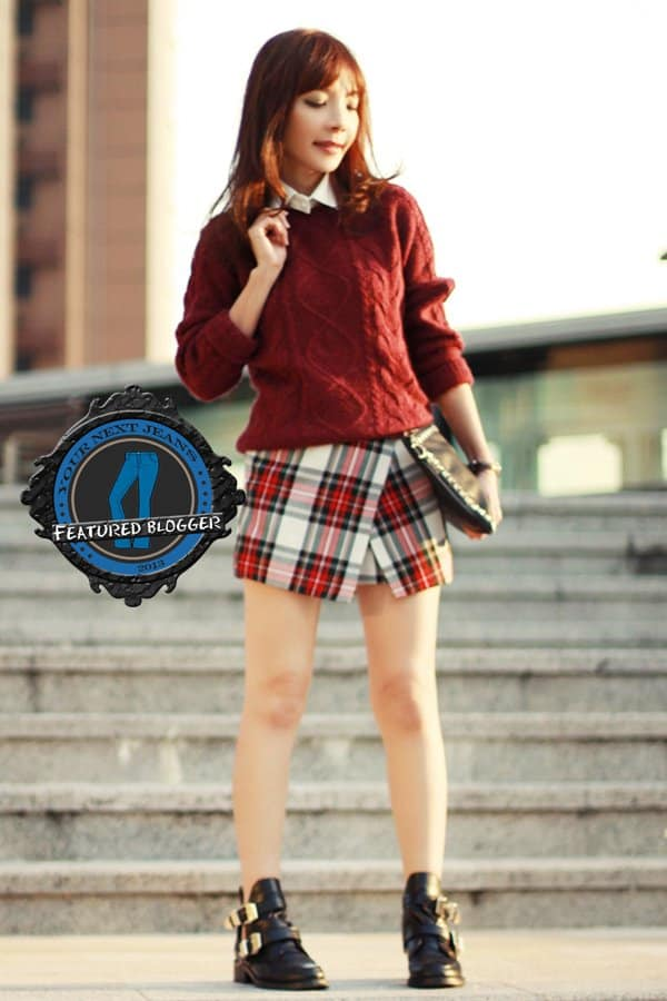 Prisca shows how to wear tartan skorts with a cute sweater in winter