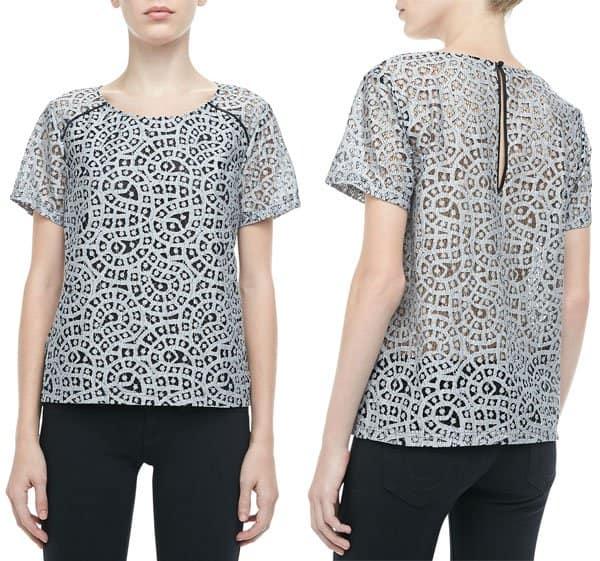 Rebecca Minkoff Skyline Metallic Crochet Top