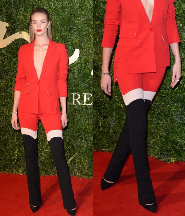 The three-tone design of Rosie Huntington-Whiteley's pants give the optical illusion that they have a severed middle part