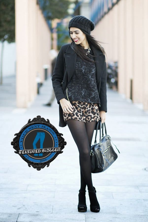 Sissy wore animal print shorts in winter with warm tights