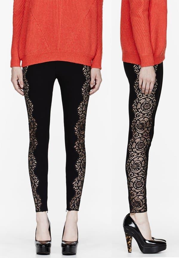 Stella McCartney Black Lace-Paneled Stretch Leggings