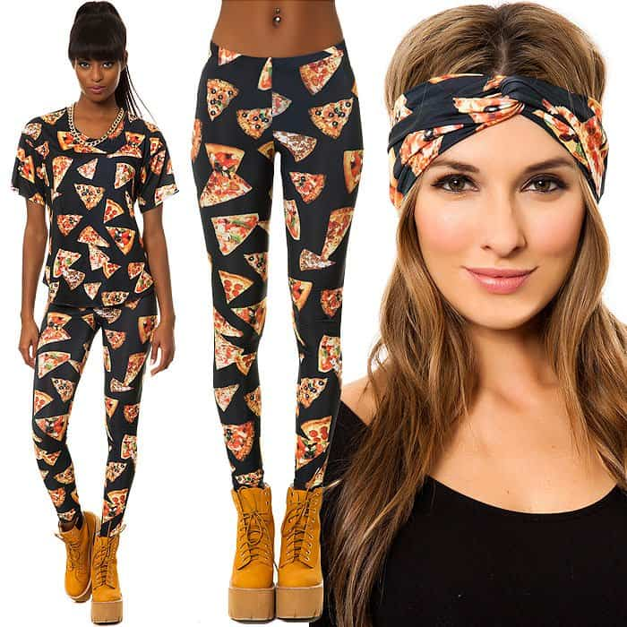 Pizza print outfit with leggings, top and turban