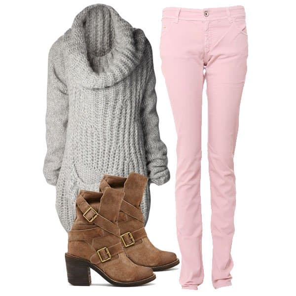 Pink jeans outfit inspired by Kelly Brook
