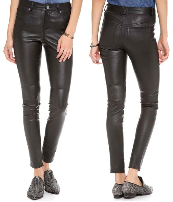 Leather skinny pants are an edgy alternative to denim