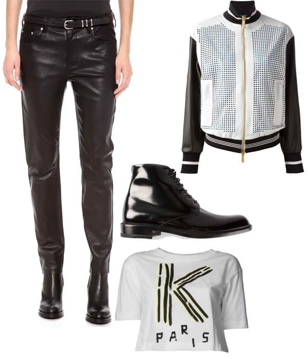 Cara Delevingne inspired outfit with leather pants