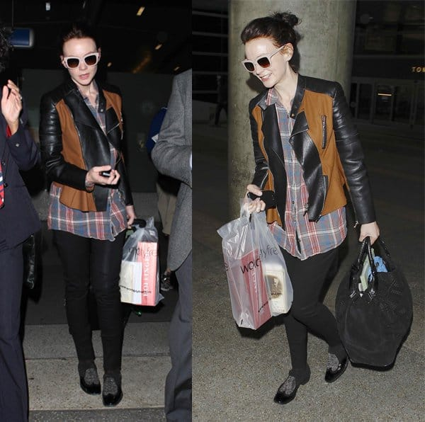 Carey Mulligan wore her tartan shirt with a leather jacket