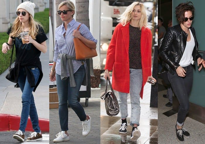 Celebrities wearing jeans and sneakers