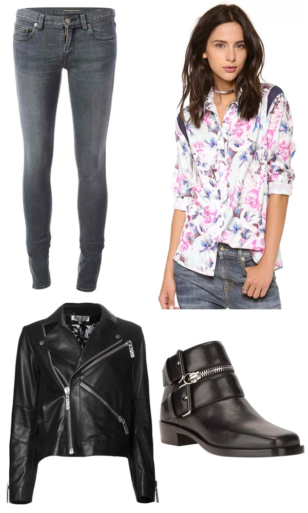 Saint Laurent Skinny Jeans / Pencey Karolina Floral Wedge Blouse / Kenzo Leather Biker Jacket / Kenzo Easy Rider Boots