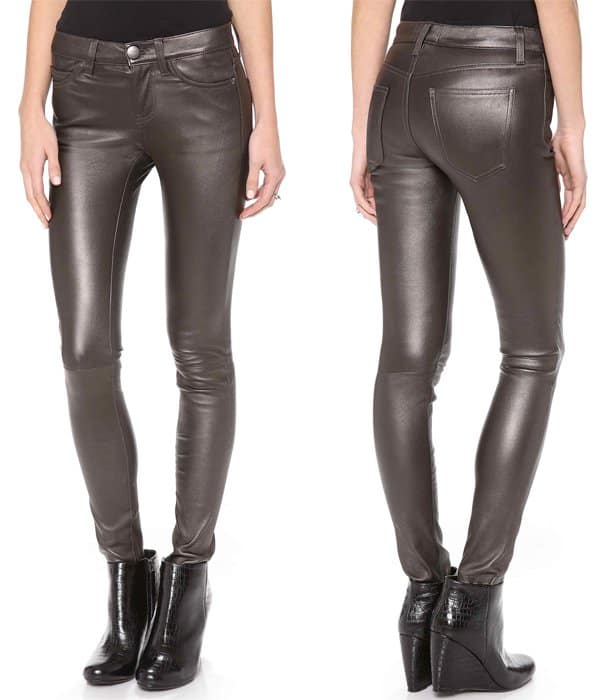 Current Elliott The Ankle Skinny Leather Pants