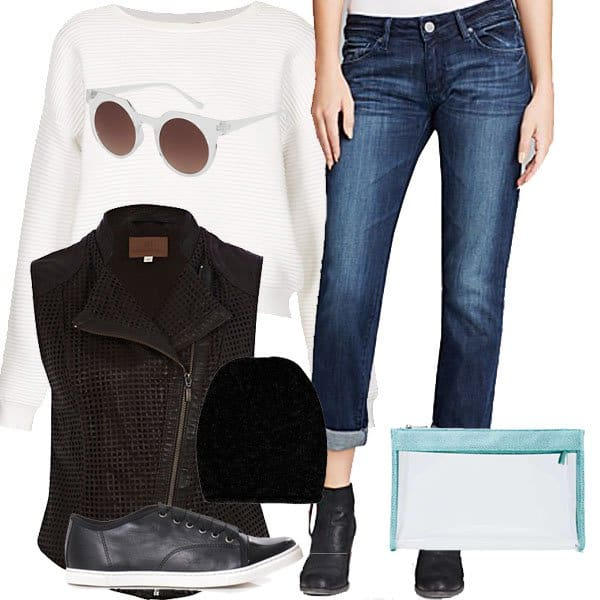 Boyfriend jeans with a sweater, sunglasses, a vest and accessories