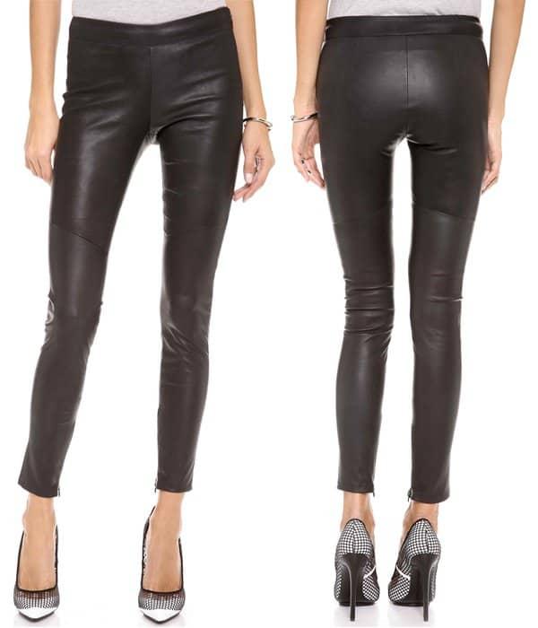 David Lerner Clean Side-Zip Leather Leggings