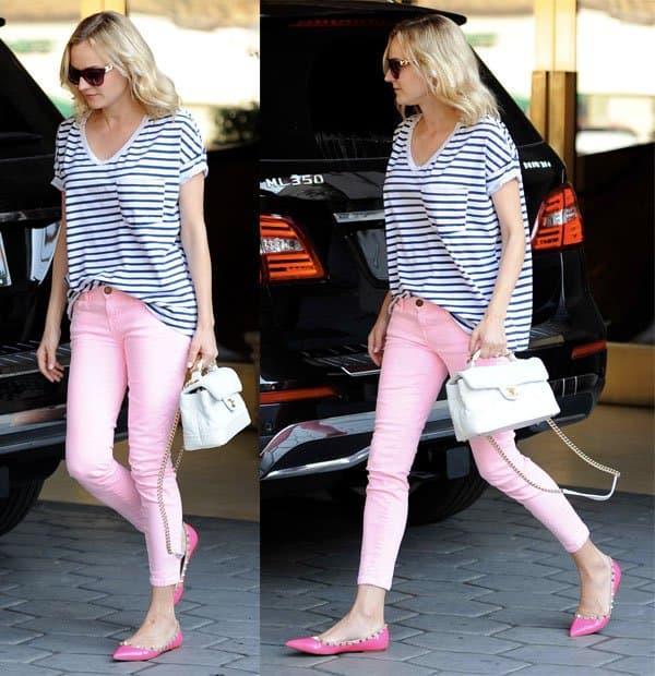 Diane Kruger sporting pink skinny jeans