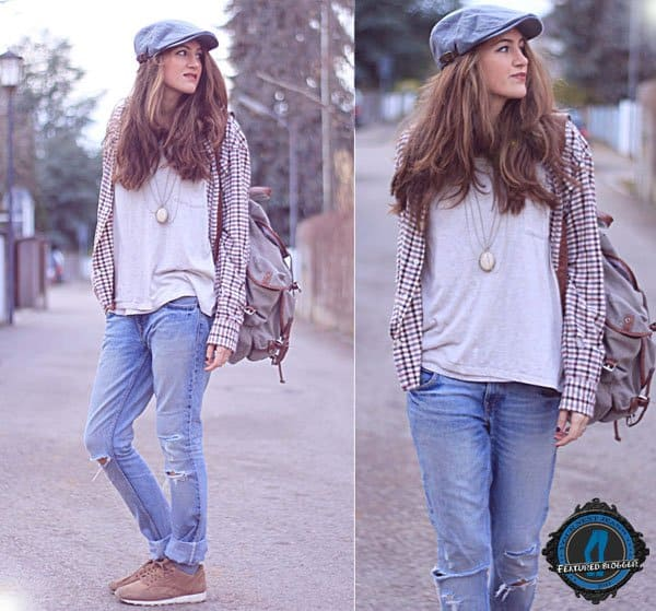 Elif wears boyfriend jeans with sneakers and a plaid shirt