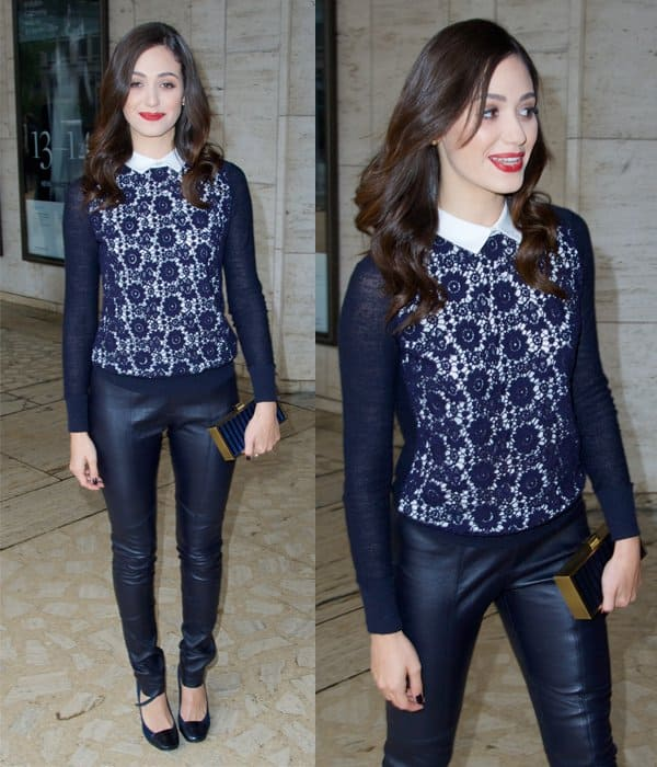 Emmy Rossum wears leather pants at New York Fashion Week