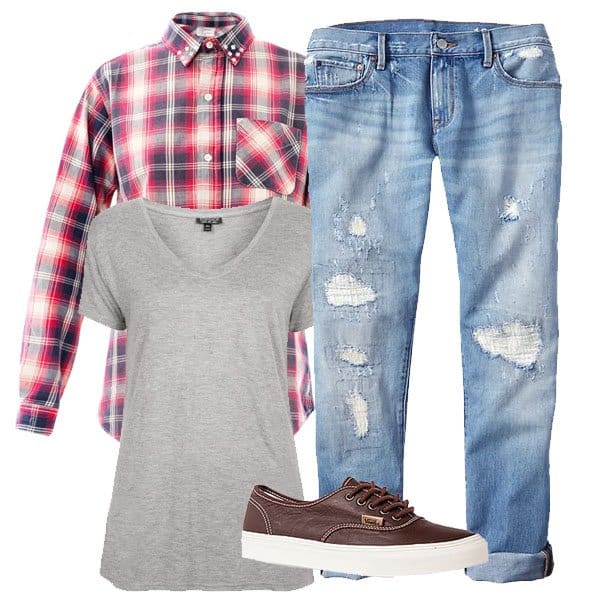 Deconstructed boyfriend jeans with plaid shirt and accessories
