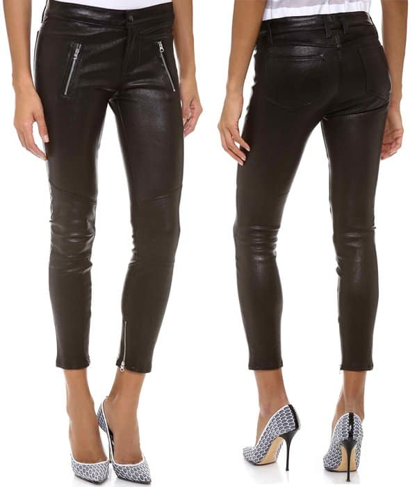 Raised seams complement the classic biker look of these leather J Brand skinny pants