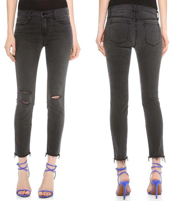 With raw cuffs and shredded holes, these J Brand jeans give their ever-popular Alana skinny-jean silhouette a just-right hint of distressing for a completely covetable, well-loved look