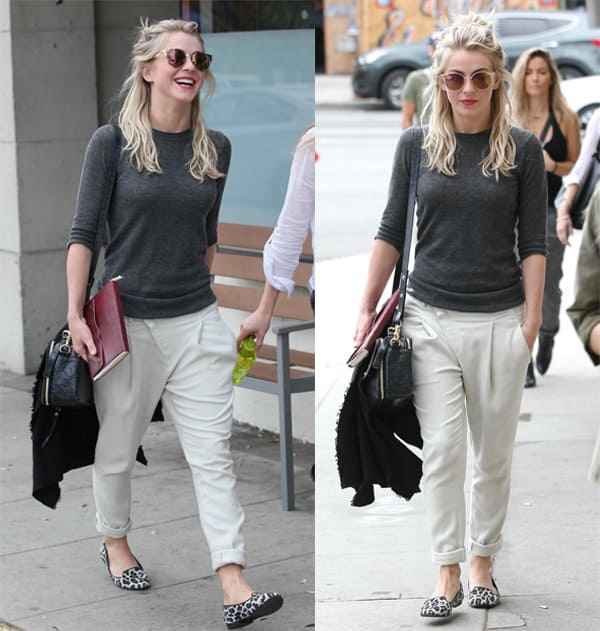 Julianne Hough wears slouchy pants to lunch with friends in West Hollywood