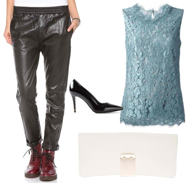 Karlie Kloss inspired outfit with leather pants