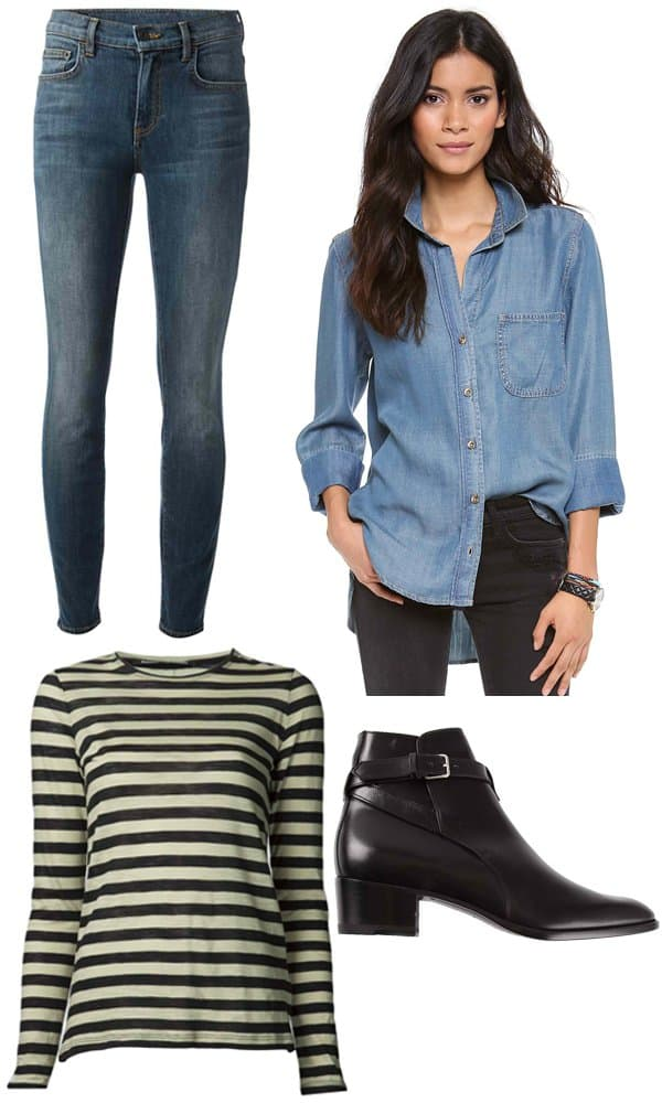 Proenza Schouler Skinny Jeans / Bella Dahl Button-Down Shirt / Proenza Schouler Striped T-Shirt / Saint Laurent Johdpur 40 Boots