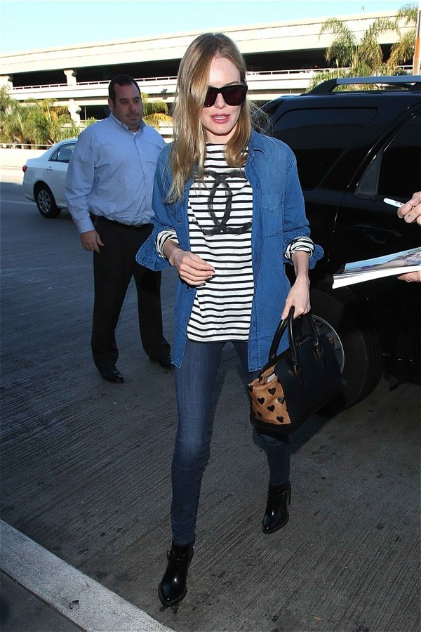 Kate Bosworth wore her striped shirt with an open button-down shirt
