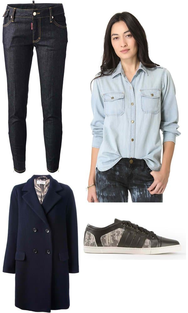 DSQUARED2 Skinny Jeans / Alberto Biano Double-Breasted Coat / Current Elliott The Perfect Shirt / Lanvin Sporting Low Sneakers