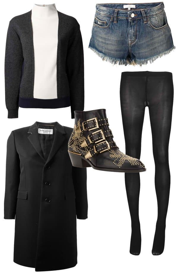 IRO Modena Denim Shorts / Cedric Charlier Paneled Sweater / Saint Laurent Classic Long Overcoat / Chloe Susanna Ankle Boots / Sofie D'Hoore Fever Pantyhose