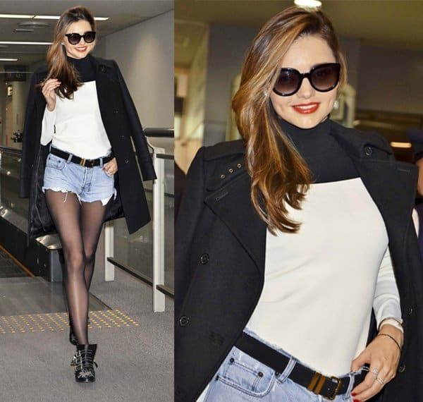 MIranda Kerr wore a pair of denim cutoffs with black tights