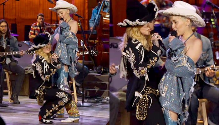 Miley Cyrus and Madonna gave a raunchy performance
