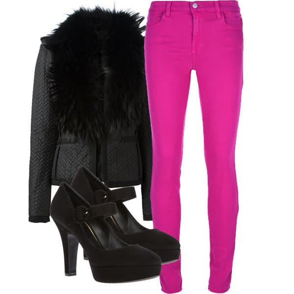 Pink jeans outfit inspired by Fergie
