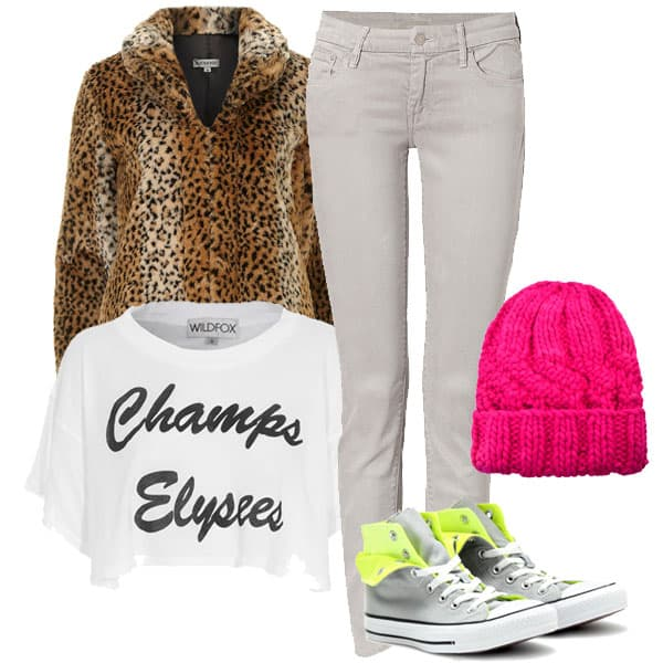 Jeans with crop shirt, pink beanie, and sneakers