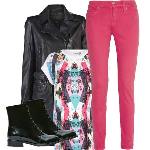 Pink jeans outfit inspired by Jessie J