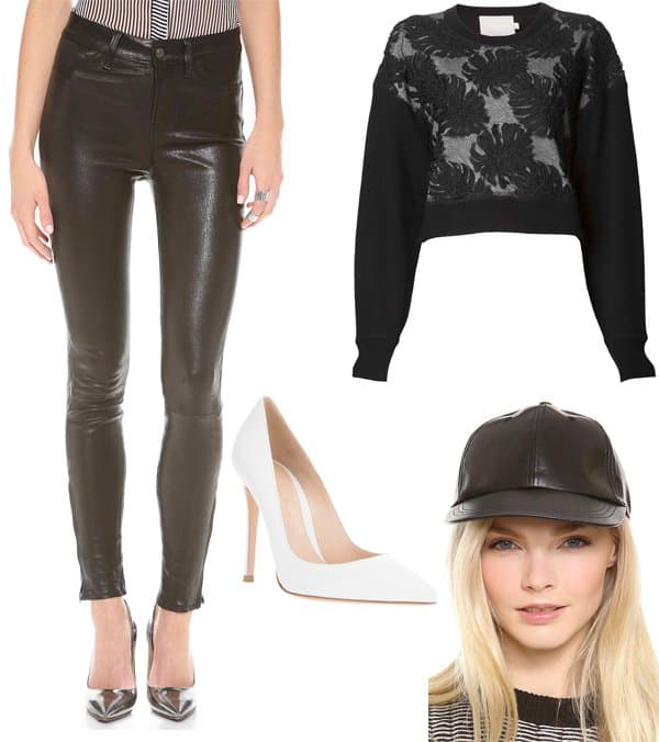 Rihanna inspired fashion with leather pants