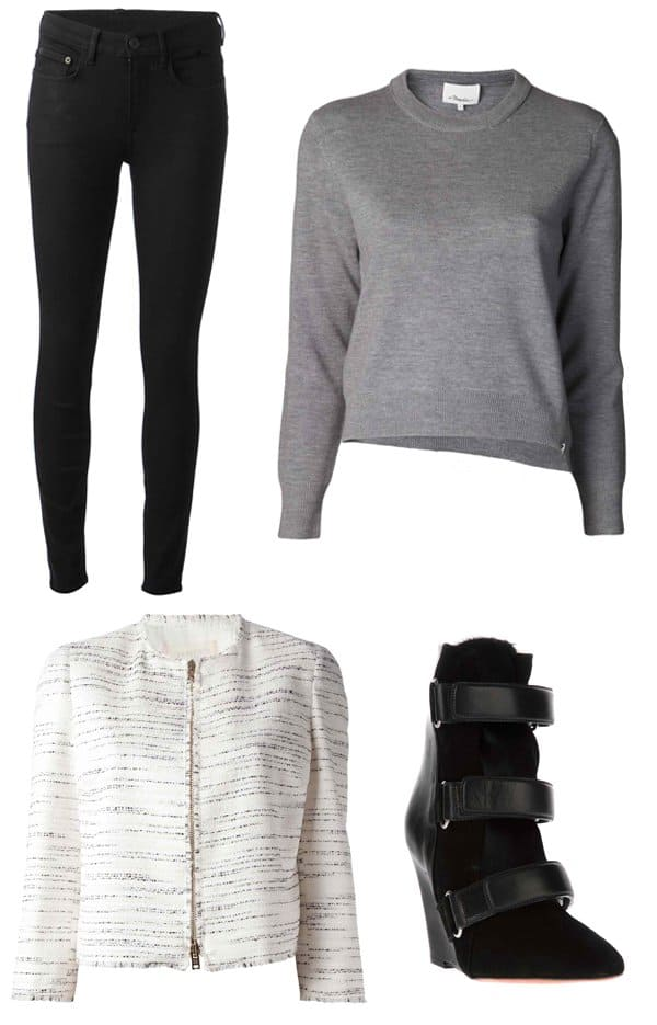 Proenza Schouler Skinny Jeans / 3.1 Phillip Lim Cropped Sweater / Giambattista Valli Printed Cropped Jacket / Isabel Marant Scarlet Boots