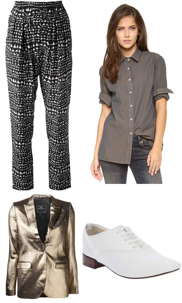 Stella McCartney Heart-Print Trousers, $549.54 / Daftbird Button-Down, $74.20 / Unconditional Metallic Blazer, $1,510 / Repetto Lace-Up Shoes, $228.68