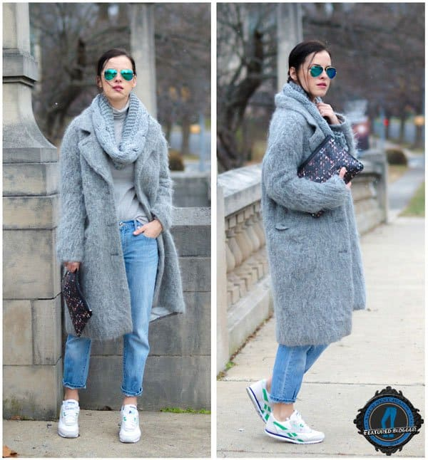 Veronica paired her sneakers with jeans and an oversized coat
