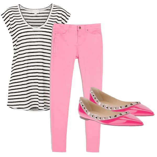 Pink jeans outfit inspired by Diane Kruger