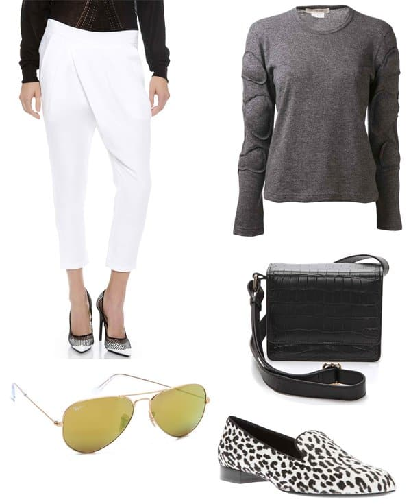 Loose pants with cashmere sweater and accessories