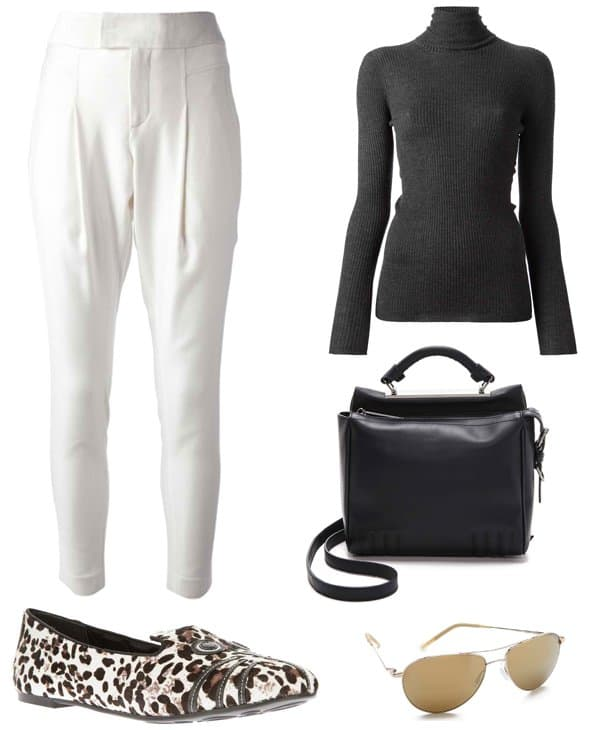 Helmut Lang tailored pants with ribbed sweater and shoes outfit