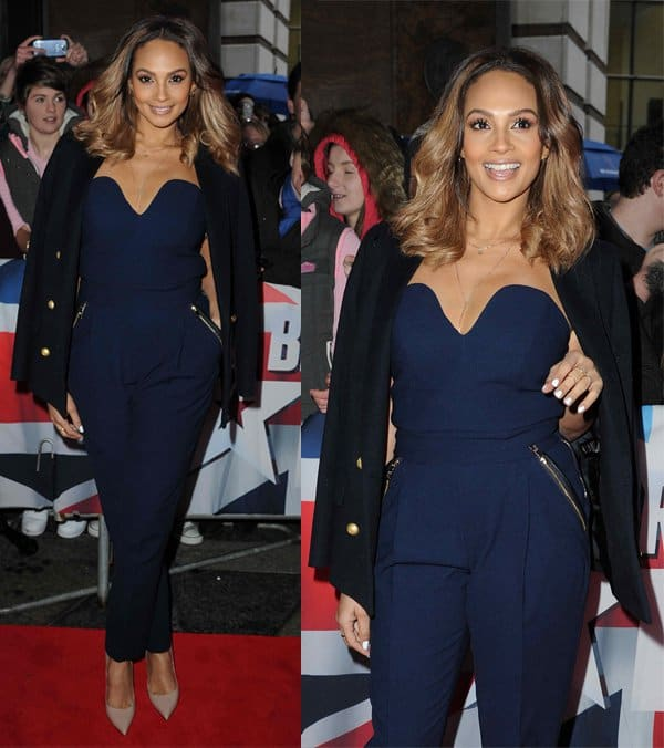 Alesha Dixon wears a navy Three Floor jumpsuit at Britain's Got Talent auditions