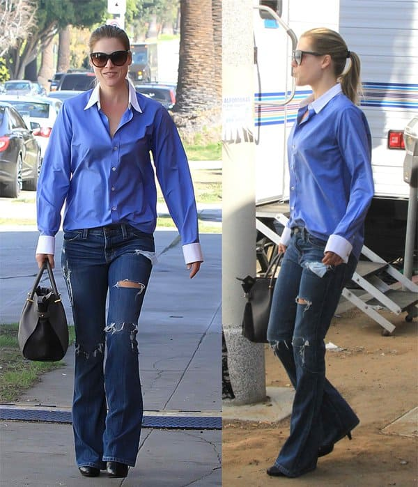 Ali Larter arriving in flared jeans at a film set in West Hollywood