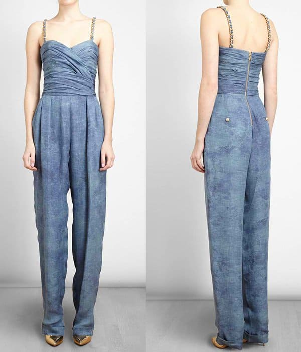 Balmain Denim Printed Silk Jumpsuit