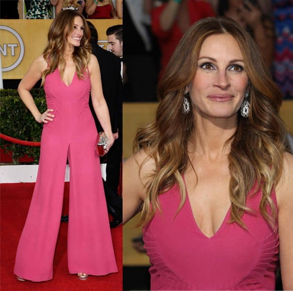 Julia Roberts wears a custom Valentino jumpsuit at the 20th Annual Screen Actors Guild Awards