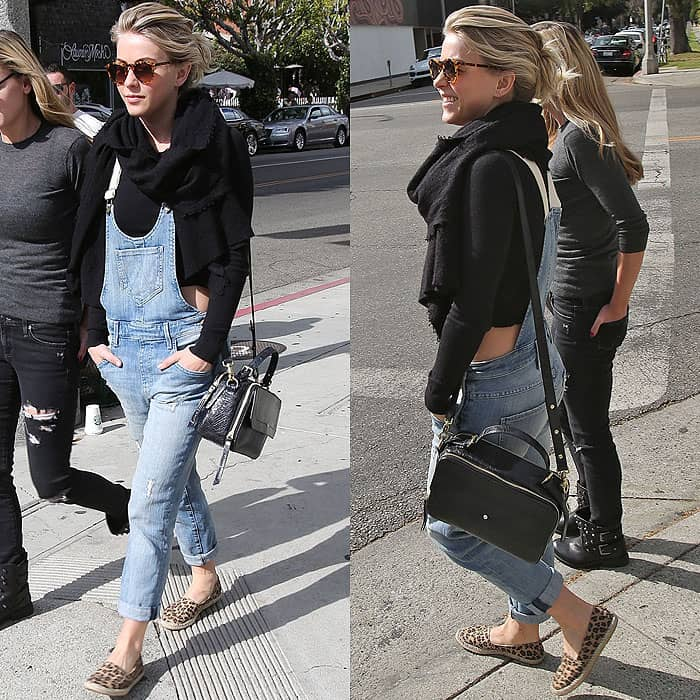 Julianne Hough rocks denim Wildfox overalls with a cropped sweater