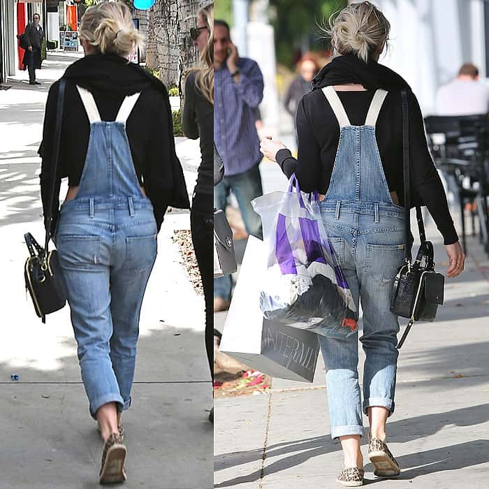 Rendered in faded denim, Julianne Hough's overalls have a vintage look with shredded holes and whiskering