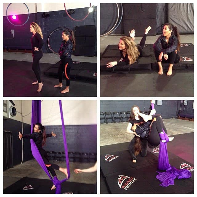 "Kardashian's Instagram pictures she shared on Twitter with the caption, ""Kourt and I tried some aerial workouts today! A first for us!!! #getitright #GetItTight"""