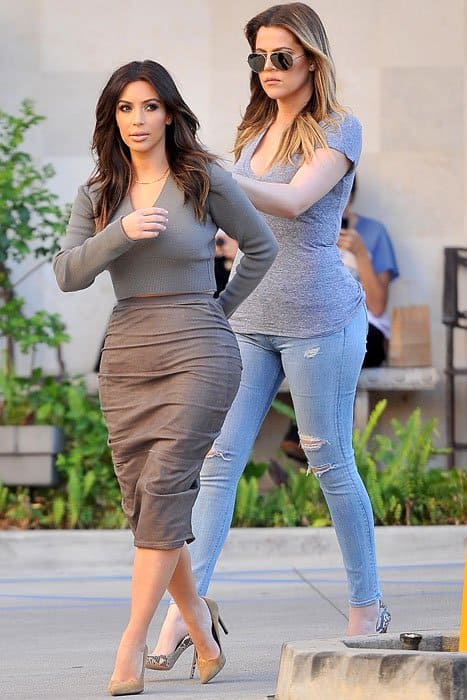 Kim Kardashian and Khloe Kardashian heading to a spa