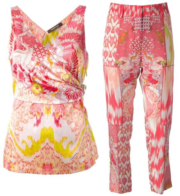 Roberto Cavalli Floral Print Top and Pants