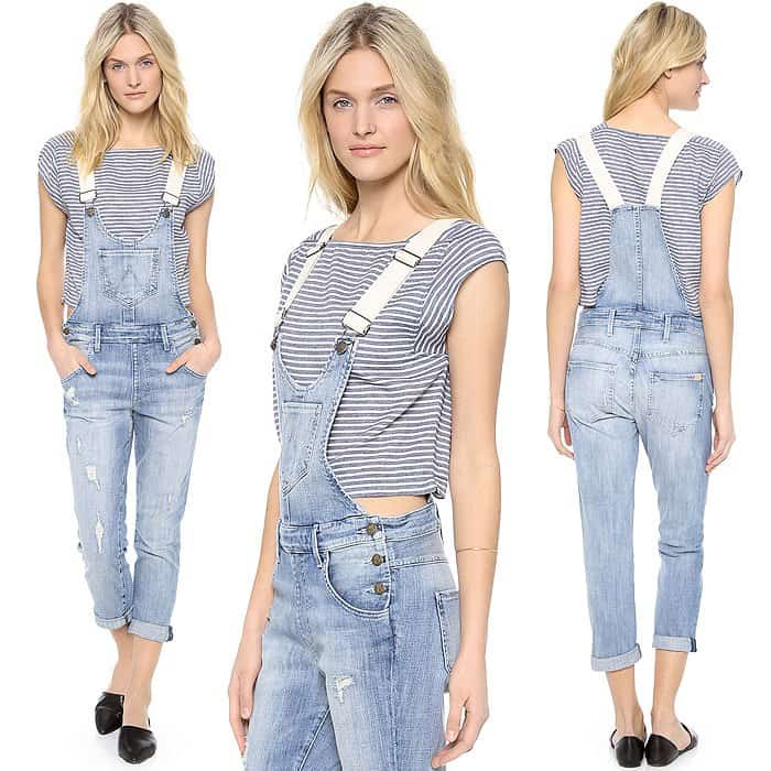 Shredded holes and whiskering add a note of deconstruction to these faded Wildfox denim overalls