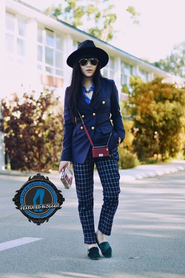 Willabelle with long hair wearing tomboy style tartan tapered pants